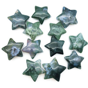 1pc Natural Moss Agate Star Shaped Crystal Reiki Healing Polished Mineral Craft