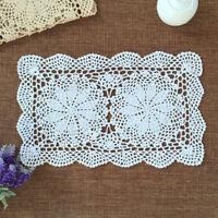 Vintage White Rectangle Lace Doily Hand Crochet Table Mat 27x43cm Cotton