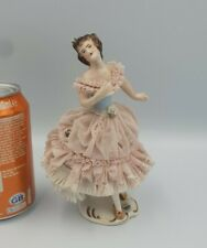 Antique /Vintage German  Dresden Lace Porcelain  Ballerina Figurine