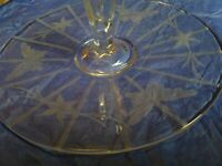 Vintage Etched Butterfly Glass Candy Serving Plate With Handle