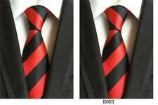 New Men's Designer Red & Black Striped Silk Tie