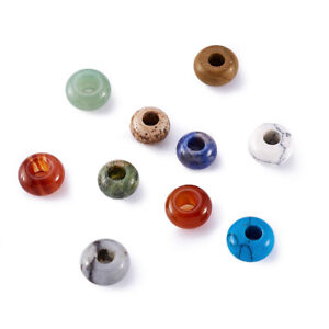 20x Mixed Stone European Beads Rondelle Smooth Large Hole Charms Beading 12~14mm