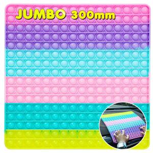 Jumbo Push Popit Fidget Toy, Big Rainbow 256 Bubbles Stress Relieving Fidget Toy