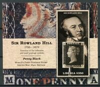 Liberia Penny Black Stamps 2015 MNH First Postage Stamp Rowland Hill 1v S/S