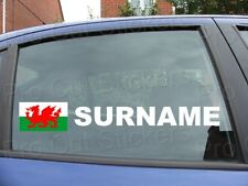 x2 Large Rally Tag Name Surname Window Stickers Decals Wales Welsh Flag ref:18