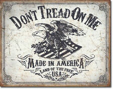 "Made in USA"" Don't Tread On Me"" Land of the Free Made in America Tin Metal Sign"