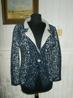 Pull 3 boutons gilet  maille laine mohair  bleu chiné blanc 42/44