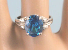 Swiss BlueTopaz Oval 10X8 mm 4.1 ct Leaf Setting Ring Sterling Silver Size 6