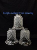 """Vtg Victorian Art Deco Style Cut Glass Lamp Shade Clear Frosted Star 2 1/8 1/4"""""""