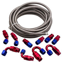 20FT AN6 Stainless Steel PTFE E85 Fuel Line Hose + Fitting Hose End Kit Swivel