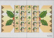 England Ls3 Smilers Sheet 2001 Royal Mail 1st Cracker Mnh Santa
