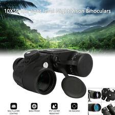 New 10X50 Waterproof Low-light Night Vison Binoculars Military Marine Compass US