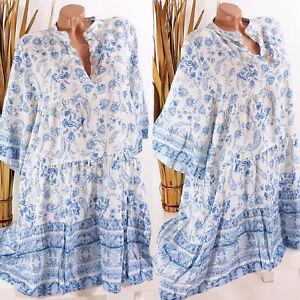 Italy 38 40 42 jeans blau Tunika Kleid Hippie Boho Damen oversize Paisley
