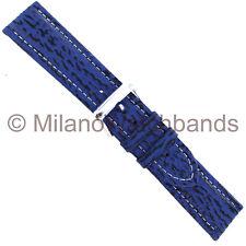 22mm Speidel Blue Shark Grain Genuine Leather Mens Watch Band Regular
