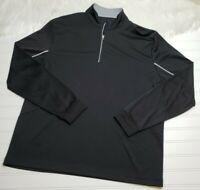 PGA-TOUR Men's Golf Performance Long Sleeve 1/4 Zip Pullover Shirt LG Black/Grey