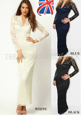 Womens Lace Floral Maxi Long Sleeve V-neck Bodycon Cocktail Evening Dress A006