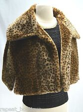 VALERIE STEVENS Leopard FAUX FUR Cropped WRAP SHRUG cape JACKET one SZ S M L NWT