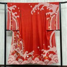 Visiting kimono with antique squeezing and embroidery  vermilion, silk Japanese