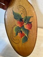 Vintage Handmade & Tole Painted Wood Wooden Spoon Wall Decor Strawberries Signed