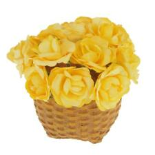 144 Mini Artificial Rose Buds Paper Flowers Wedding Home Party Decor Yellow
