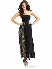 new RRP $600 ABS BLACK STRAPLESS MAXI GOWN DRESS L last
