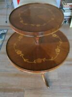 Antique Inlaid Daisy Flowers Mahogany Two Tier Pie Crust Side Table dumbwaiter