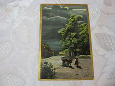 GREETINGS  1909 ANTIQUE WOMAN WITH DONKEY & CART GERMAN  POSTCARD    T*