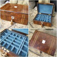 ANTIQUE JEWELLERY BOX - 19c  INLAID WALNUT  WONDERFUL INTERIOR