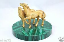 ANTIQUE GILT 800 SILVER HORSES ON MALACHITE OVER MARBLE STATUE PAPERWEIGHT