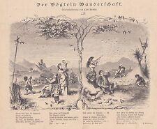 Migratory Bird Hunting Bird Hunting Wood Engraving from 1884 Poem
