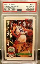 1992/93 JOHN STOCKTON NBA HOOPS AUTOGRAPH CARD (SU1) PSA 8 AUTO 10 🔥VERY RARE🔥