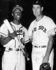 """Ted Williams & Hank Aaron - 8"""" x 10"""" Photo - 1950's - Red Sox Baseball Braves"""