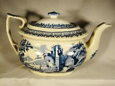 Early Pearlware Transferware Blue & White Transfer Teapot & Cover c.1812-1830