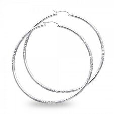 14k White Gold Big Round Hoop Earrings Large Diamond Cut Satin Finish Solid