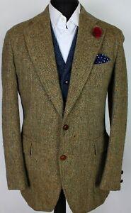 Harris Tweed Blazer Jacket Green Brown 40R X236