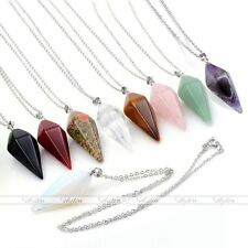 Natural Quartz Gemstone Chakra Pendulum Pendant Silver Chain Necklace Jewelry