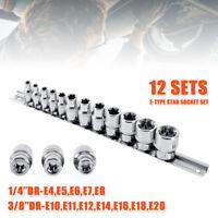 """12PCS Female Torx Star Socket Set External E Type E4-E20 3/8"""" 1/4"""" Drive Rail"""