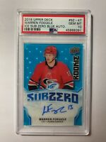2018-19 Upper Deck Ice Sub Zero Blue Warren Foegele #SZ-47 RC PSA 10 GEM Auto