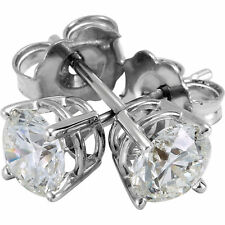 14K WHITE GOLD 1/3cttw SOLITAIRE VS2-SI1 G-H DIAMOND STUD BASKET-SET EARRINGS