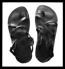 Black Leather Jesus Roman Sandals Womens Mens Strap Handmade US 5-16 EU 36-50