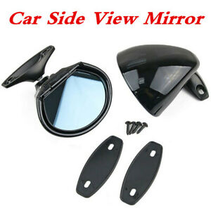 2x ABS Classic Car Door Wing Side View Mirrors Left Right Black Shell Blue Glass