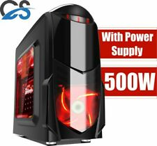 MICRO ATX Game Max Nero Black PC Gaming Case Red LED fan with 500W Builder PSU