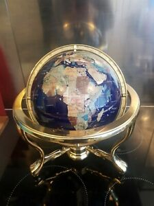 Large Semi Precious Gemstone World Globe on Brass Stand with Compass
