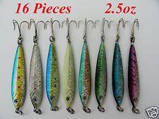 16 Pieces 2.5 oz Mega Live bait Metal Jigs 8 Colors - Two of each color