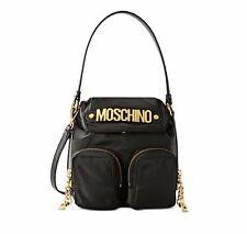 $595! MOSCHINO Couture Jeremy Scott Black Shoulder Bag Gold Logo Leather Pockets