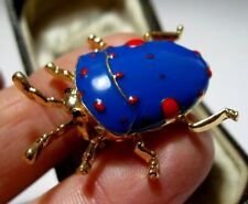 Vintage Style Lovely BEETLE Insect Vibrant Red Blue Enamel Jewellery BROOCH Pin
