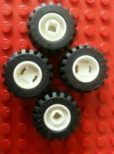 LEGO Black Tyre 21mm D.x 12mm Offset Tread Small Wide White Notched 11mmx12mm x4