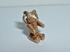 VINTAGE 14K YELLOW GOLD 3D MOVEABLE TEDDY BEAR CHARM