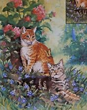 "Candamar Emhanced Cross Stitch Kit Cats HOBBS & TOPPER Kit 12""X15"" Linda Picken"