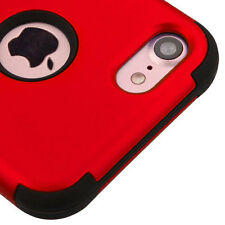 iPhone 7 / 8 - Hard&Soft Rubber Hybrid Armor High Impact Case Cover Red / Black